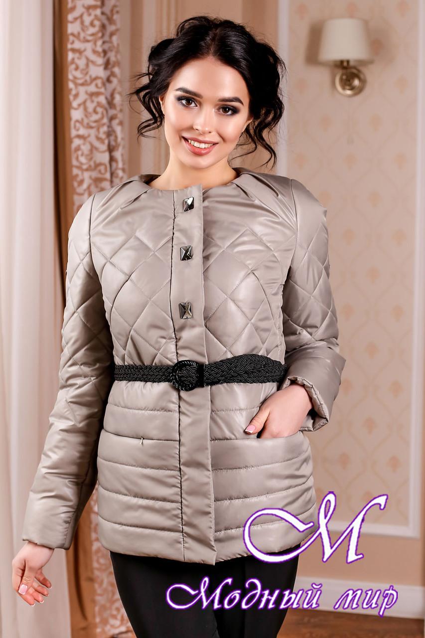 Молодежная демисезонная женская куртка оливкового цвета батал (р. 44-54) арт. 960 Тон 55