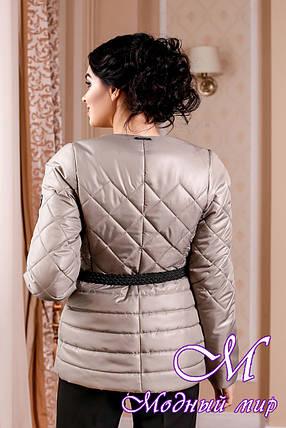 Молодежная демисезонная женская куртка оливкового цвета батал (р. 44-54) арт. 960 Тон 55, фото 2