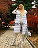 Жилет из меха песца альбиноса с плечиками, длина 95 см