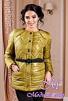 Молодежная демисезонная женская куртка цвета красное золото батал (р. 44-54) арт. 960 Тон 66