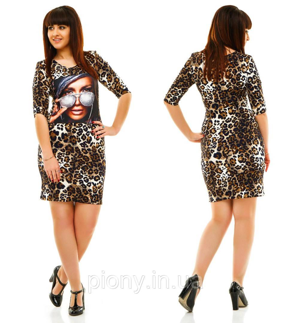 Принт леопард платья