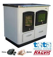 Котел-плита твердотопливный KALVIS-4ASB-1 (2 конфорки+духовка) 12 кВт