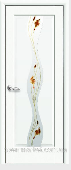 Модель Волна белый матовый стекло Р1 межкомнатные двери, Николаев