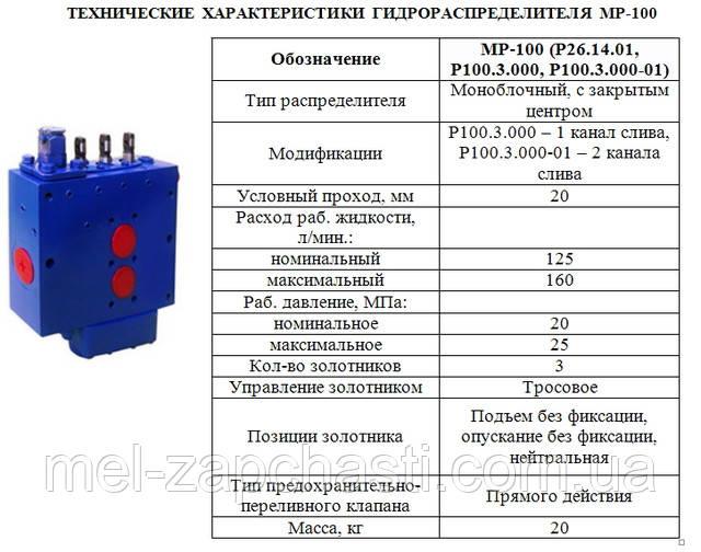 Гидрораспределитель МР-100 (левый, правый)