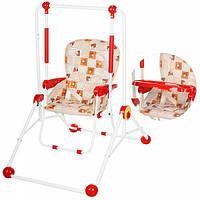 Детские качели + стульчик Трансформер Мишки красные