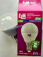 Светодиодная лампа шар 6W E14 4000K 500Lm ELM