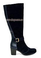 Женские сапоги на устойчивом каблуке из натуральной кожи и замши синего цвета. 38 размер, 41 голень.