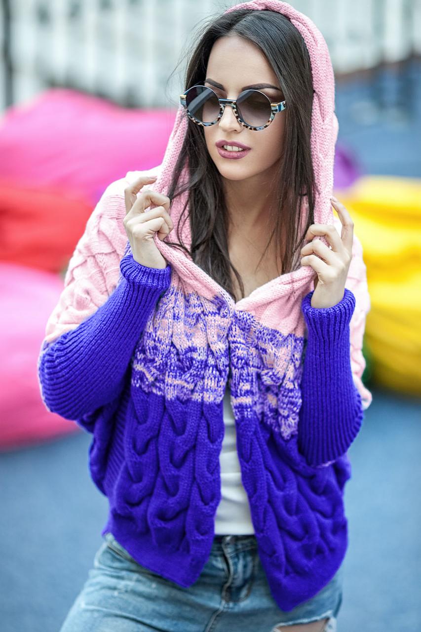 8a60116f3f0 Вязаная кофта с капюшоном женская Lalo( 42–48р)в расцветках - Интернет–