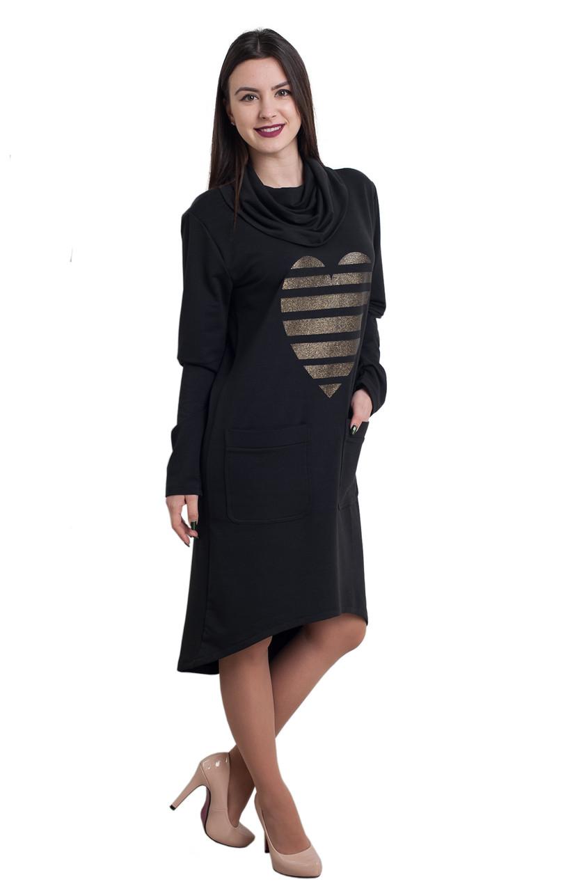 Платье Сердце 0176_2 Чёрное