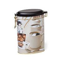 """Банка для хранения кофе """"Кофе"""" овальная с клипсой 400 грамм"""