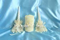 """""""Жемчужная волна"""", свадебные свечи-очаг с декором из атласных розочек и лент, айвори"""