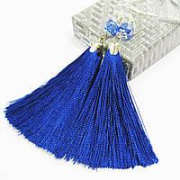 Серьги-кисточки шелковые, 7 см, синие