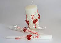 """Комплект свадебных свечей """"Афродита"""" большая и 2 тонкие для родителей"""