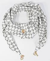 Стильный платок, косынка Gucci белая, атлас