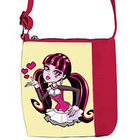 Малиновая сумочка для девочки с принтом Монстер хай