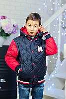 Куртка-жилетка на мальчика, т.синяя, р.122-140