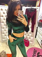 Женский костюм брюки и топ из бархатом с кружевом