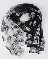 Шифоновый шарф Alexander McQueen черно-белый