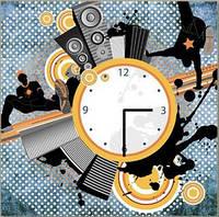 """Картина-часы (60х60 см) """"Музыка города"""""""