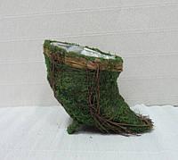 Кашпо для декора Рог из травы и мха, 16см