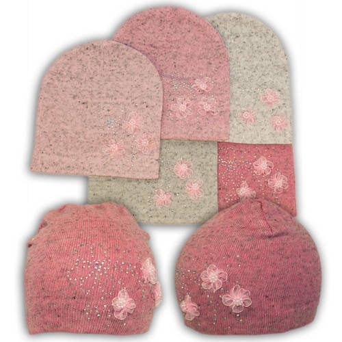 Вязаная шапка с бусинками, для девочки, KX20