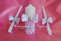 """""""Мадонна"""", украшение свечей для свадьбы или венчания бантами и стразами"""