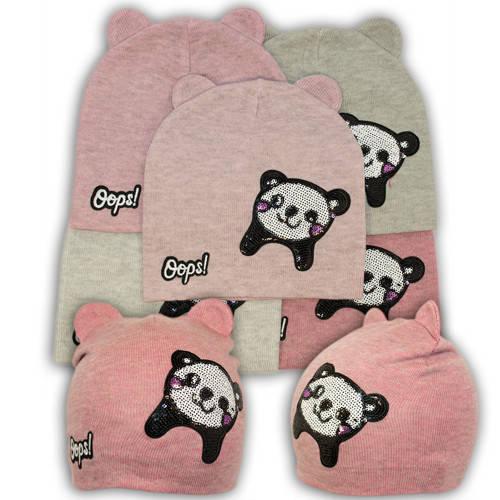 Вязаная шапка с изображением панды, для девочки, KX34
