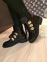 """Ботинки """" Болеро золото """" черные лаковые код 1899"""