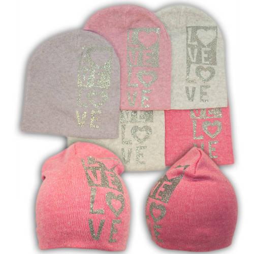 Вязаная шапка с принтом, для девочки, KX46