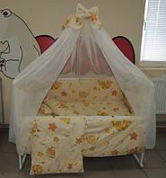 Комплект детского постельного белья в кроватку бежевое Тэдди в гамаке Gold 9 в 1(120Х60)