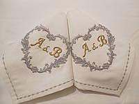 Свадебные именные салфетки из хлопка с вышивкой серебряными нитями 2 шт.