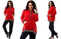Стильный спортивный костюм батал, красная  кофта скапюшоном. Арт-9831/47