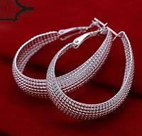 Большие серебренные модные серьги  925