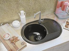 Овальная кухонная мойка MOKO VERONA Nero BRILLANTE на основе мрамора, фото 2