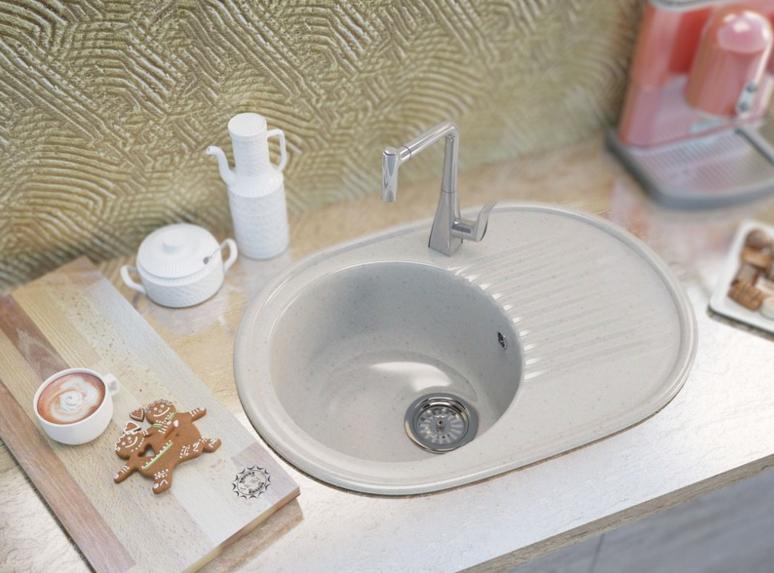 Овальная кухонная мойка MOKO VERONA VANILLA на основе мрамора