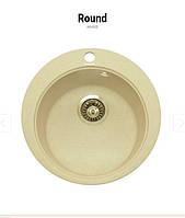 Круглая кухонная мойка Granitika Round R454520 крем 45х45х20