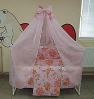 Детское постельное белье в кроватку розовое Мишка пчелка на луне Gold 9 в 1