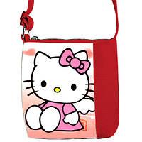 Красная сумочка для девочки с рисунком Хелло кити
