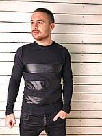 Модный мужской пуловер со вставкой эко-кожи