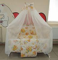 Детское постельное белье в кроватку бежевое Мишка пчелка на луне Gold 9 в 1
