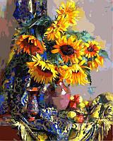 Раскраска по номерам Подсолнухи и яблоки худ Горячева Светлана (VP333) 40х50 см