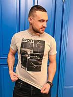 Мужская стильная футболка с принтом