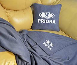 """Автомобильный плед в чехле с логотипом """"Lada Priora"""" цвет на выбор"""