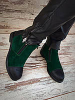 Ботинки женские Натуральный замш,низкий ход,2 молнии  4 цвета