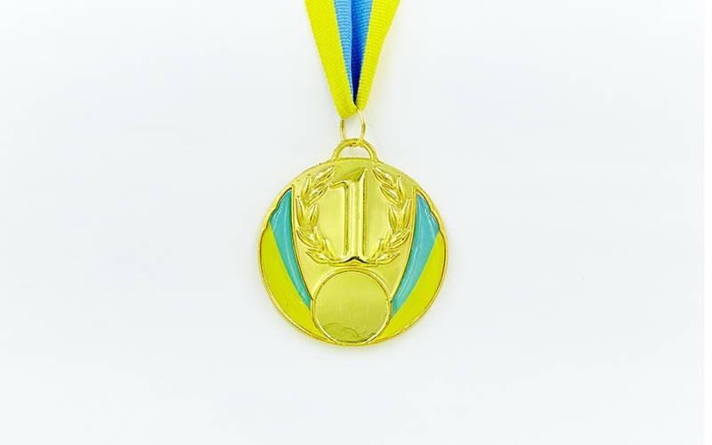 Медаль спортивна зі стрічкою UKRAINE d-6,5 см з укр. символікою C-4339 1-золото, 2-срібло, 3-бронза