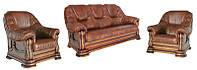 """Комплект мебели в коже """"Grizly"""", раскладной диван и 2 кресла (3р+1+1) (3 цвета в наличии)"""
