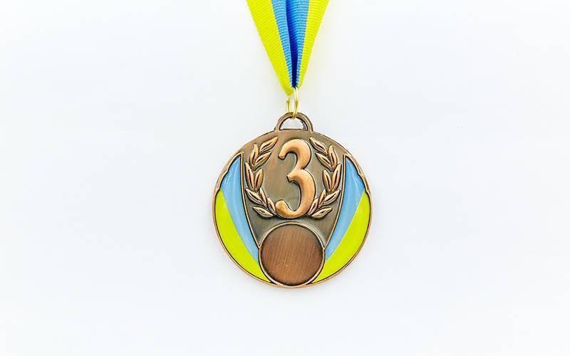 Медаль спортивна зі стрічкою UKRAINE d-6,5 см з укр. символікою C-4339-31-золото, 2-срібло, 3-бронза