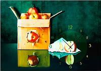 """Картина-часы (50х70 см) """"Корбка яблок"""""""