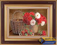 Схема для вышивки бисером - Натюрморт из роз и клубники, Арт. НБч3-4