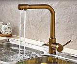 Смеситель (кран с питьевой водой) на кухню для мойки раковины или умывальника бронза однорычажный, фото 3